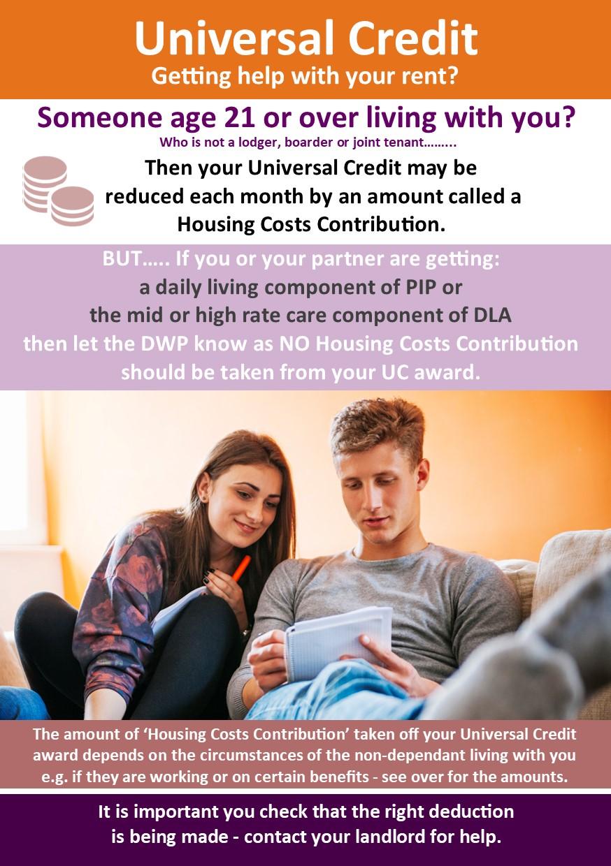 Universal Credit Non-dependant deductions leaflet